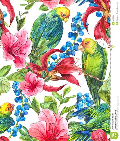 Asos10524 Floral Bird Tropical Blue White S M Import Chiffon Dress seamless background with tropical flowers parrots stock illustration image 52557902