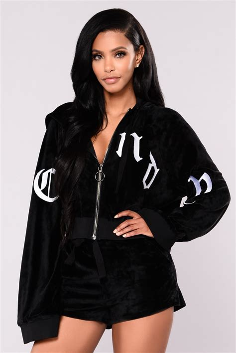 Rzav Jaket Sweety Black sweet thang velour jacket black
