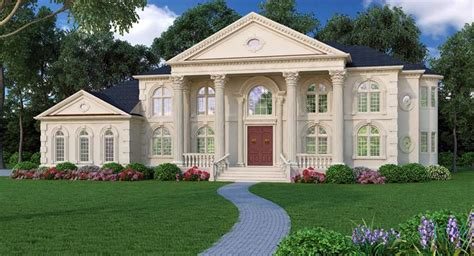 colonial greek revival house plan greek revival cottage elevation of european hillside luxury house plan 72163