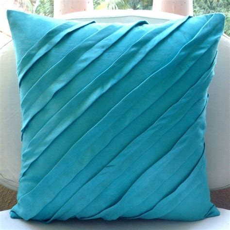 throw pillow slipcovers turquoise blue pillow covers square textured pintucks solid