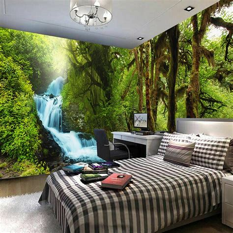 nature scenery  wall mural custom hd hd tropical rain forest brook stream photo wallpaper