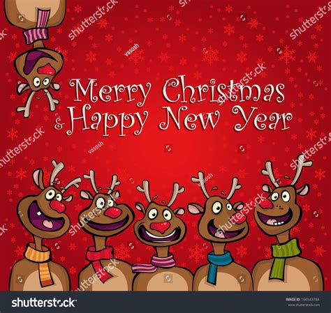 merry christmas funny cartoon deer happy stock vector  shutterstock