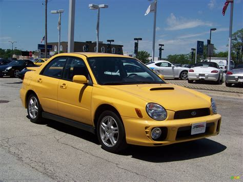 yellow subaru wrx 2003 subaru impreza wrx sedan in sonic yellow photo 3