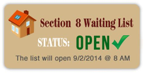 when is section 8 waiting list open st george housing authority