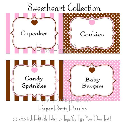 printable labels uk candy buffet tag template