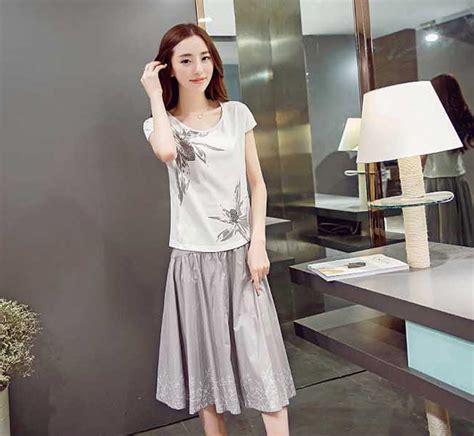 Setelan Pendek Baju Tidur Wanita 3 4 All Size baju setelan wanita korea kombinasi rok dan blus lengan pendek a3220