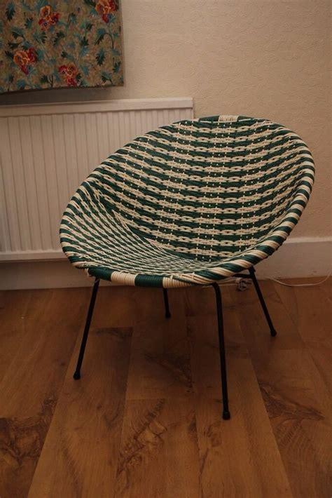 Vintage 50s / 60s Plastic Woven Lloyd Loom Satellite