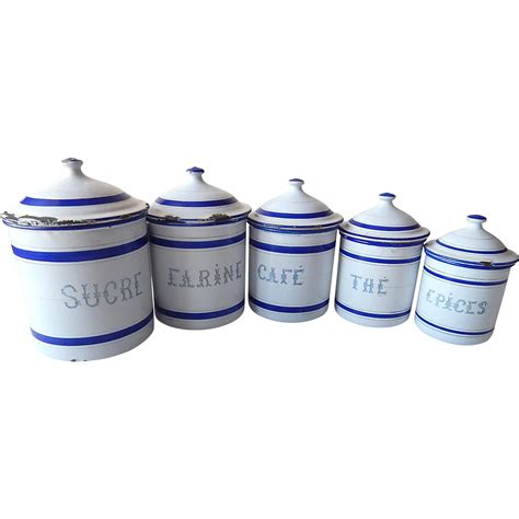 vintage french enamel kitchen canisters set of 5 chairish 5 french vintage enamelware canisters complete set with