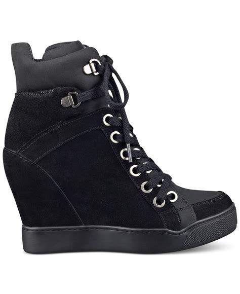 womens sneaker wedge lyst guess s matty wedge sneakers in black