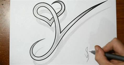 heartbeat trace tattoo drawing letter y with heart combined cool tattoo design
