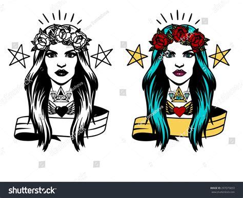 tattoo girl vector vector face girl tattoos hipster tattoo stock vector