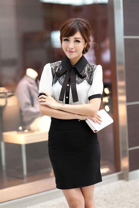 A58 10 Kemeja Atasan Wanita Lengan Pendek Sifon Biru Putih Garis kemeja kerja wanita import kombinasi renda brokat model terbaru jual murah import kerja