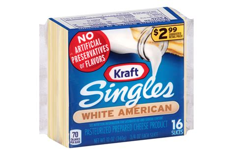 Cheese Kraft White American Cheese Slices 16ct Pack Kraft Recipes