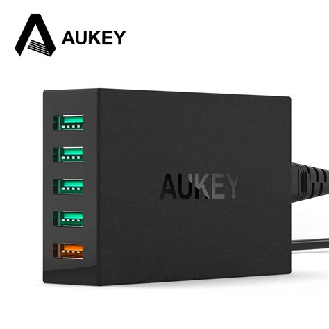 Aukey Usb Charging Station 5 Port 54w Pa T15 Hitam aliexpress buy aukey 5 ports usb charger desktop charging station with qualcomm