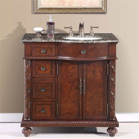 Granite Bathroom Vanity Shop Silkroad Exclusive Chestnut Undermount Single Sink Bathroom Vanity With