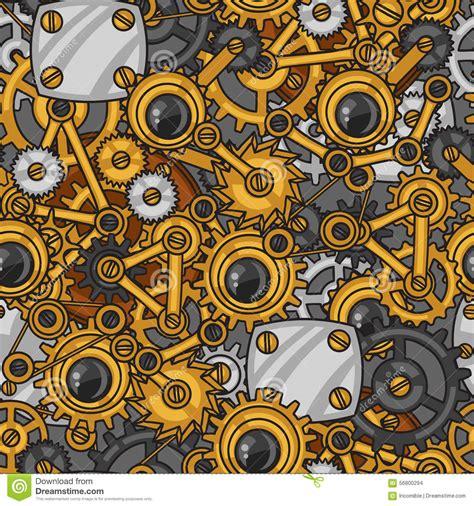 doodle metal steunk seamless pattern of metal gears in stock vector