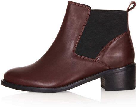 topshop affanita mid heel chelsea boots in brown bordeaux