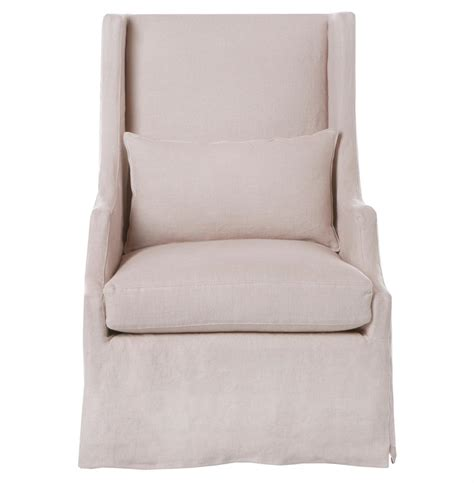 Wing Armchair Covers by Amalia Pale Pink Slip Cover Coastal Style Wing Arm Chair