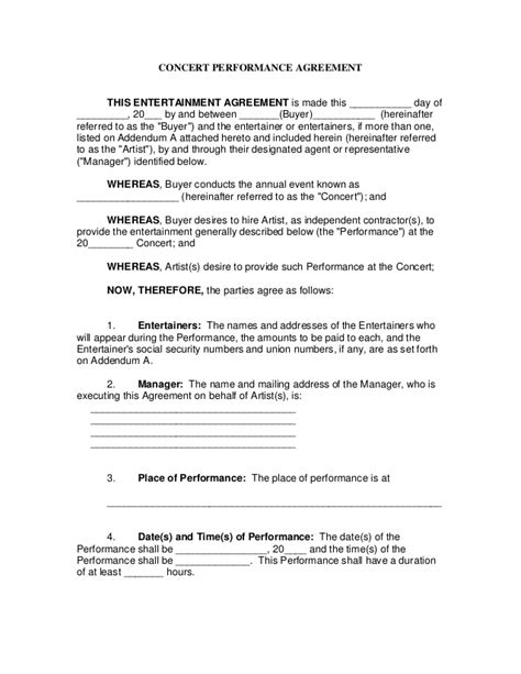 Concert Performance Contract Entertainment Manager Contract Template