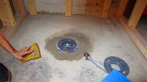Installing A Shower Drain In A Basement Floor by How To Install A Shower Pan 10 Steps With Pictures