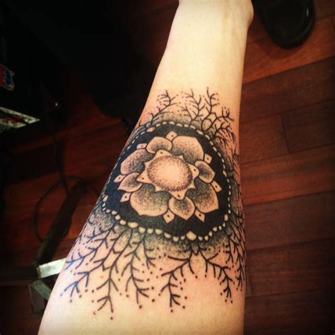 mandala forearm tattoo mandala flower on left forearm