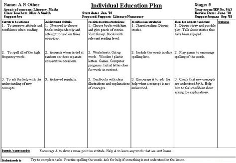 individual support plan template individual education plans
