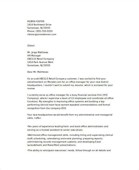 Business Office Manager Cover Letter by 21 Email Cover Letter Exles Sles