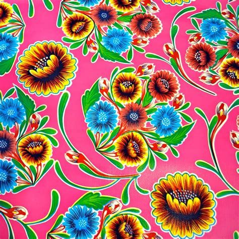 Vintage Patterns On Oilcloth by Oilcloth Dulce Flor Pink Mexican Retro Kitsch