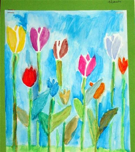 spring painting ideas kids artists tulips spring is coming