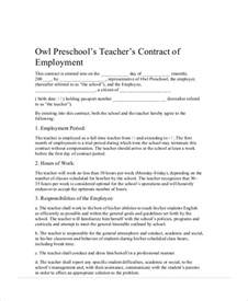 Contract Letter Format For Teachers Agreement Contract Sle 9 Exles In Word Pdf