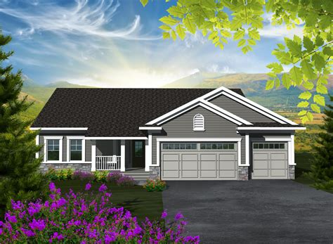 square feet of 3 car garage ranch style house plan 3 beds 2 baths 1501 sq ft plan