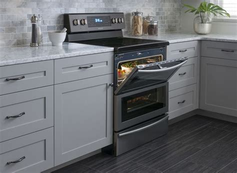 Grey Kitchen Cabinets With White Appliances Black Stainless Steel Appliances Search Kitchen Grey Cabinets White