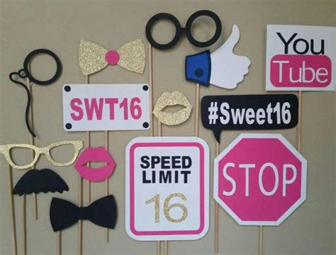 printable photo booth props sweet 16 sweet 16 photo booth props sweet 16 props boys sweet 16