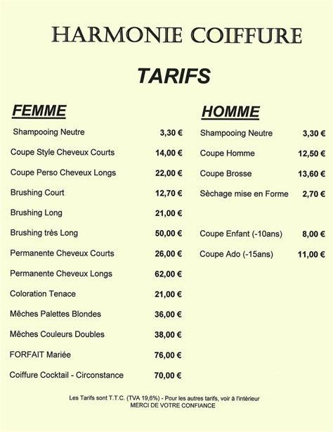 Tarif Coiffeur by Prix Photo Mariage Photographie