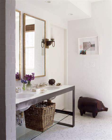 Nate Berkus Bath | metal double washstand eclectic bathroom nate berkus