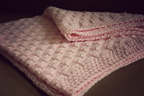 knitted baby comforter baby blanket pink checkers a fashioned