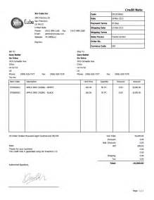 credit template credit note template