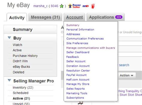 ebay my account how to navigate the my ebay account tab dummies