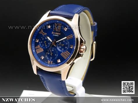 Casio Sheen She 3012 Leather buy casio sheen swarovski gold blue genuine leather