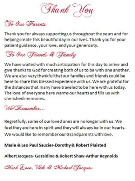 thank you letter to parents after wedding help with wording for message to parents on