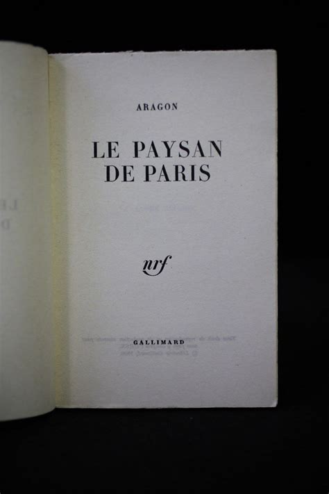 libro le paysan de paris aragon le paysan de paris autographe edition originale edition originale com
