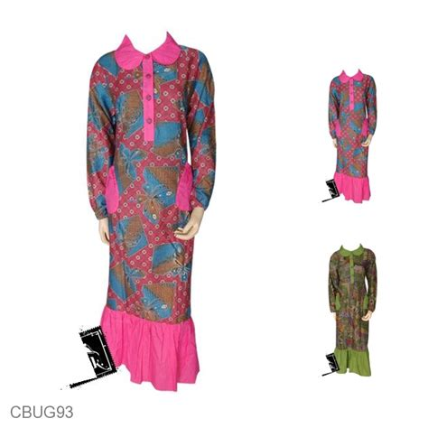 Gamis Batik Etnik baju batik gamis kancing depan motif etnik kupu gamis