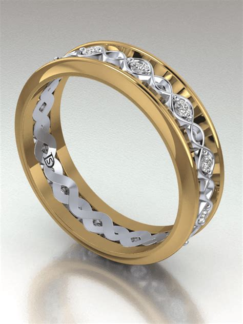 Crossed Ring crossed wave two tone wedding ring two tone wedding band