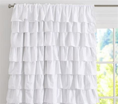 white ruffled curtains for nursery ruffle blackout panel pottery barn kids