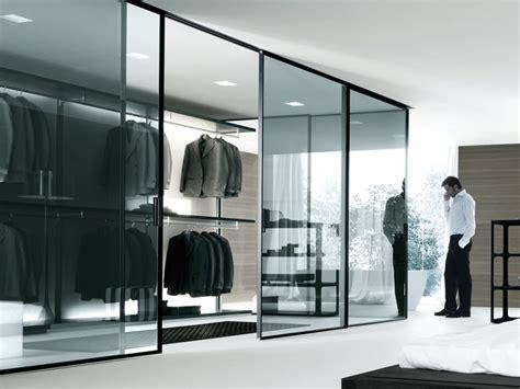 modern walk in closet closet contemporary bedroom design glass door walk in