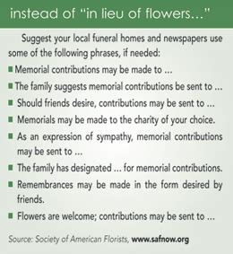 Donation Letter In Lieu Of Flowers Sle Wording For Memorial Donation Memorial Donations Donation Thank You Wording Image
