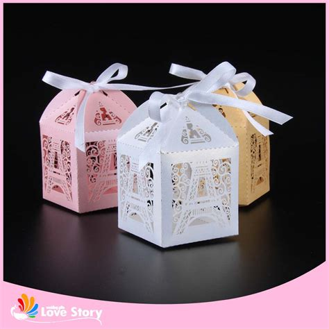 wedding supplies 50pcs eiffel tower laser cut candy box wedding favor box party favors gift box wedding