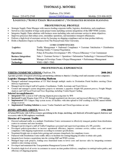Sle Resume For It by Sle Resumes For Logistics Coordinator Resume Sle Logistics
