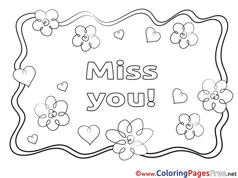 Miss U Coloring Pages by Flowers Miss You Free Coloring Pages