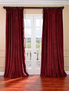 signature burgundy double wide velvet blackout pole pocket curtain traditional curtains